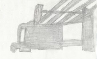 drawing of shadow cast from chair