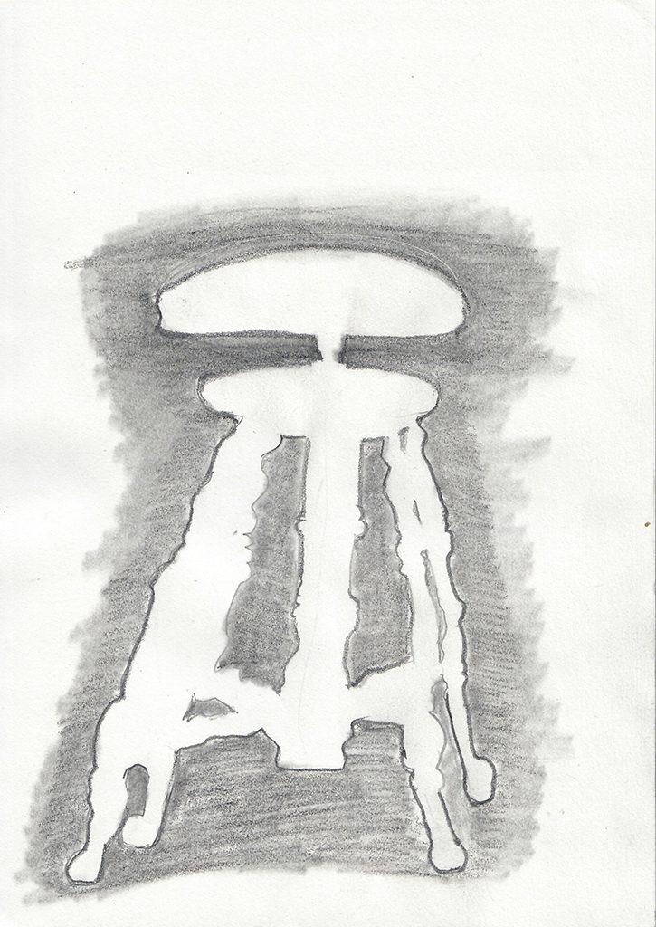 piano stool negative image