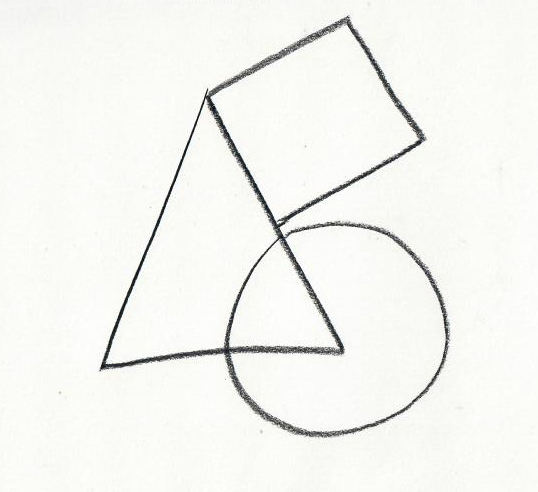 simple three shape composition of a triangle, a circle, and a square