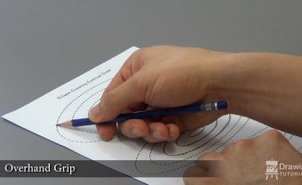 Overhand pencil grip