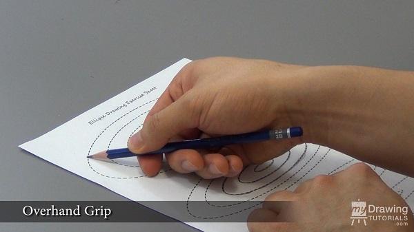 Overhand pencil grip