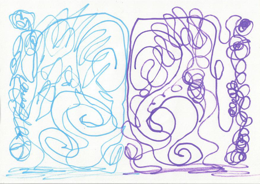 Simultaneous drawing with left and right hands