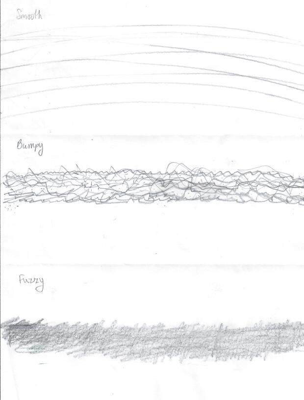 Smooth, Bumpy, Fuzzy - examples of drawing texture